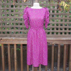 VINTAGE 80's Polka Dot Puff Sleeve Midi Dress sz S